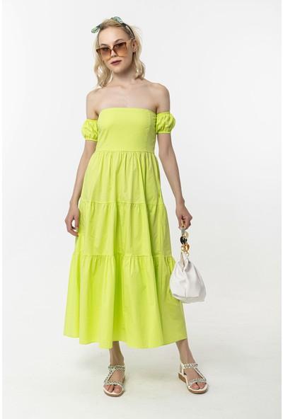 Coral Düşük Omuz Elbise Açık Yeşil