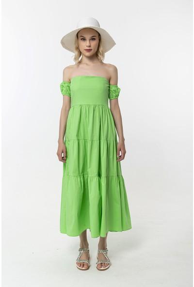 Coral Düşük Omuz Elbise Yeşil