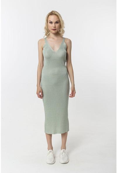 Coral Askılı Kaşkorse Elbise Açık Yeşil