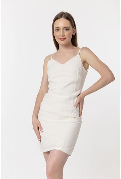 Coral Askılı Mini Elbise Krem