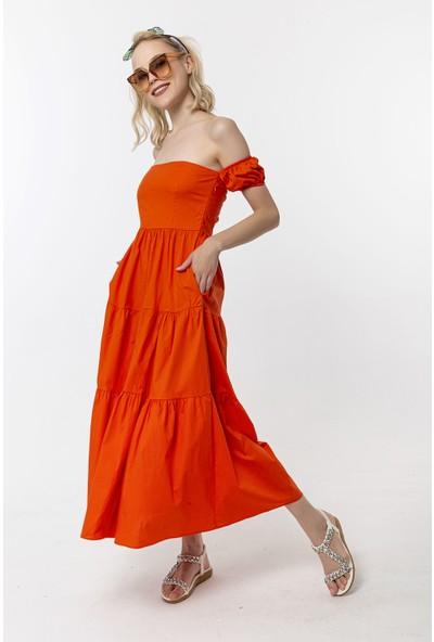 Coral Düşük Omuz Elbise Orange