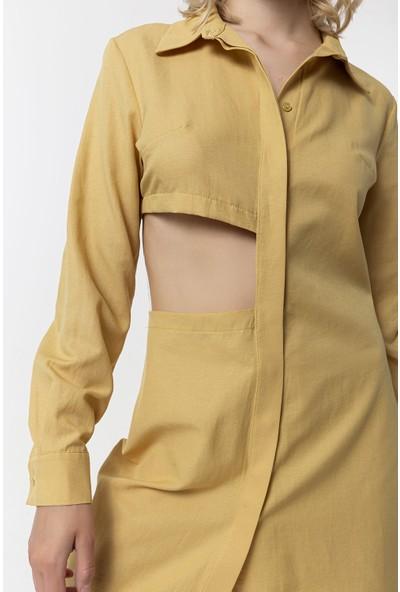 Coral Beli Pencereli Gömlek Elbise Camel