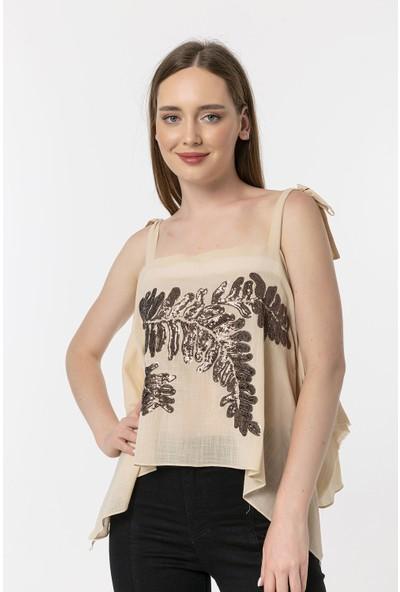 Coral Işlemeli Bluz Bej