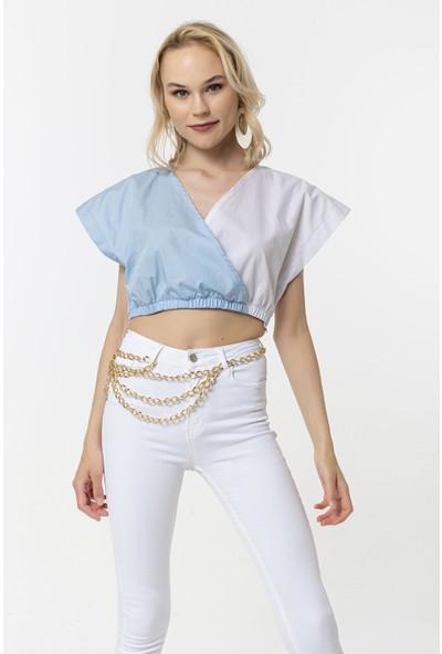 Coral Beli Lastikli Çift Renkli Bluz Açık Mavi - Beyaz