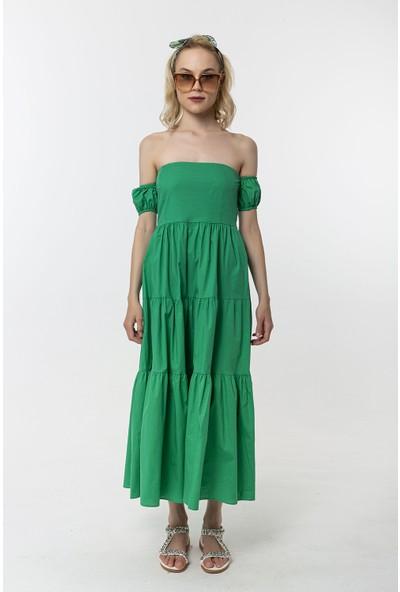 Coral Düşük Omuz Elbise Koyu Yeşil