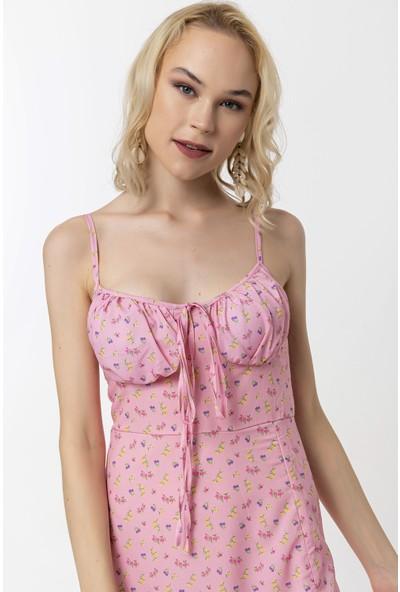 Coral Çiçekli Askılı Elbise Pembe