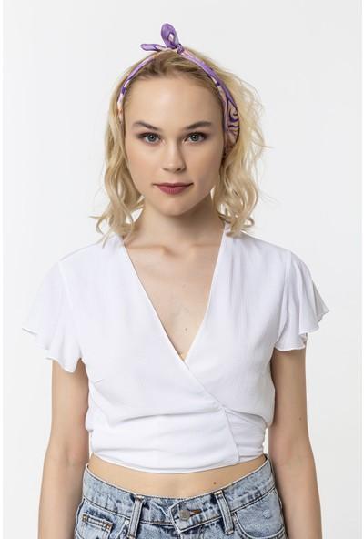 Coral Beli Bağlamalı Bluz Beyaz