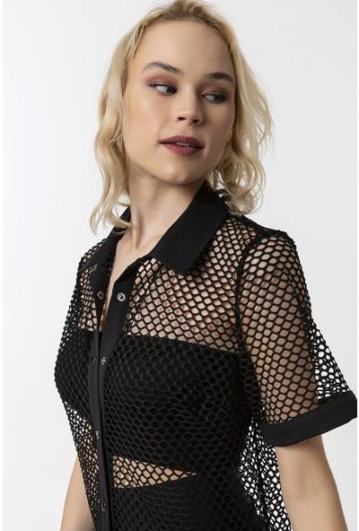 Coral Gömlek Elbise Siyah