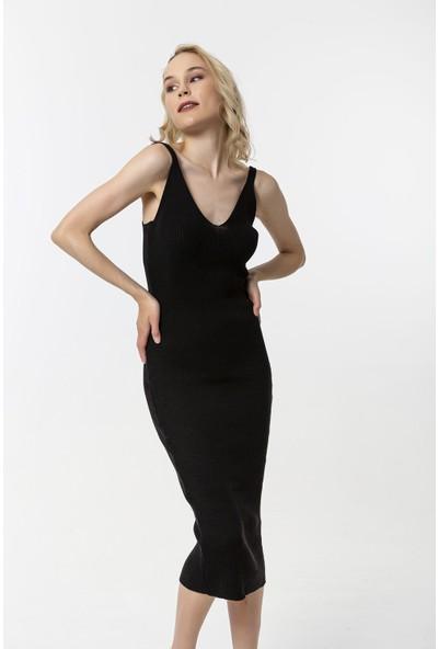 Coral Askılı Kaşkorse Elbise Siyah