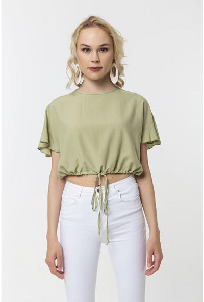 Coral Beli Bağcıklı Bluz Açık Yeşil