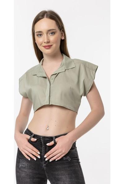 Coral Kolsuz Kısa Bluz Açık Yeşil
