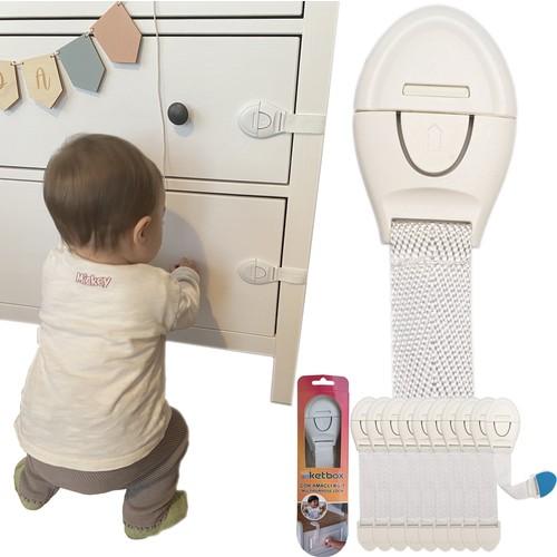 Ketbox Çocuk Bebek Çekmece Dolap Beyaz Eşya Güvenlik Emniyet Kilidi - Çok Amaçlı Kilit 10 Adet
