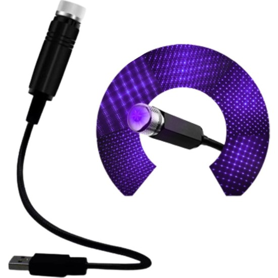 Murat Home Buffer Mavi Ayak Altı Tavan LED Araç Içi Aydınlatma Oto Araba Iç Disko Ayarlanabilir USB Lamba Işık