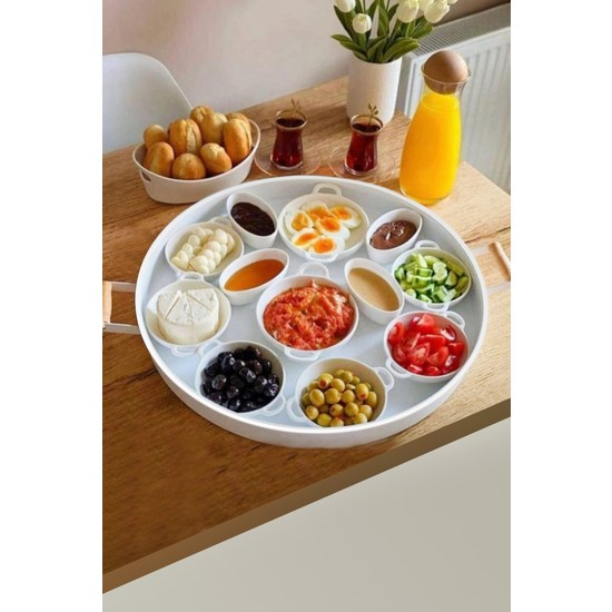 Kitchen Trend Galvaniz 51 cm Beyaz Ahşap Kulplu Yuvarlak Tepsi