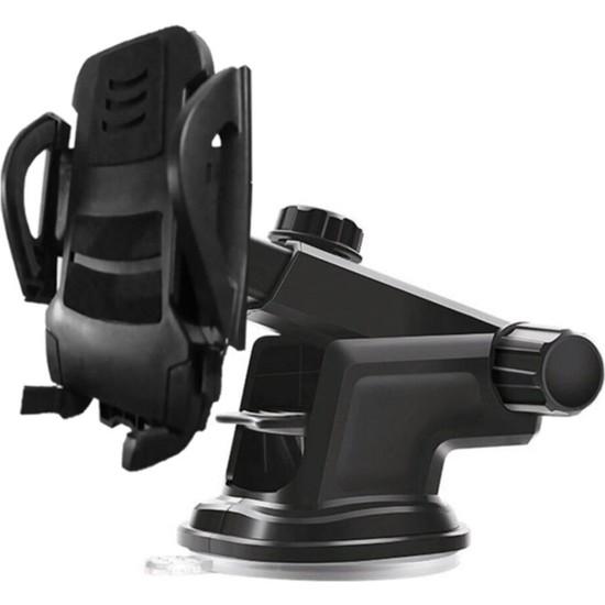 Asfal Vakumlu Uzayabilen Araç İçi Telefonu Tutucu Siyah Renk