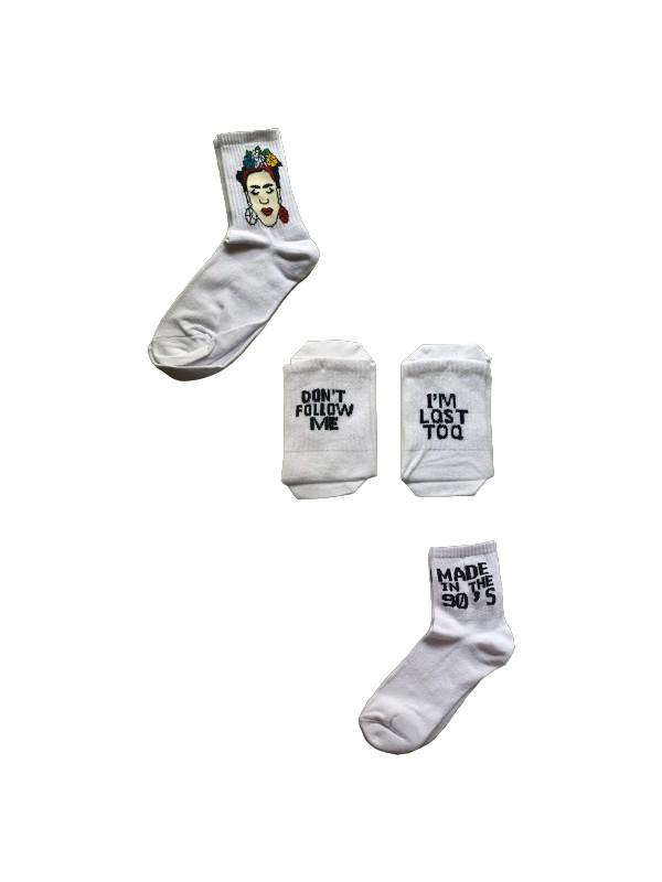 Deuxsigners 3'lu Desenli Beyaz Çorap Paketi