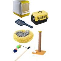 PET FASHİON Kedi Tuvalet Seti ve Ihtiyaçları 5 Li Set Sarı
