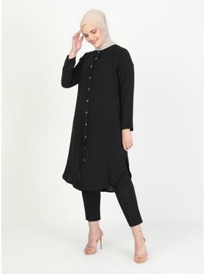 Düğme Detaylı Tunik - Siyah - Zenane