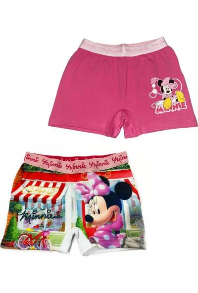 Minnie Mouse Lisanslı Kız Çocuk Beyaz Pembe Baskılı 2'li Kız Çocuk Boxer Slip