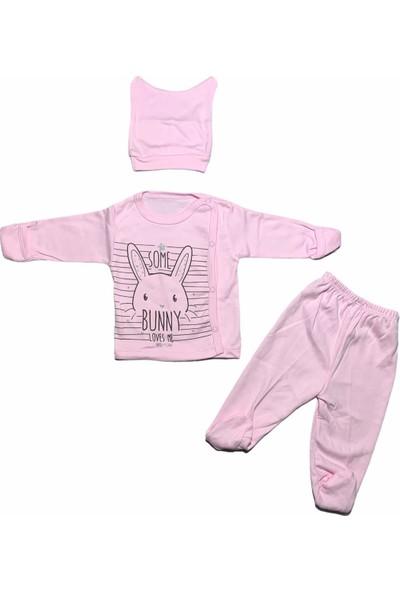 Bertoby Çizgili Tavşan 3'lü Kız Bebek Zıbın Takımı