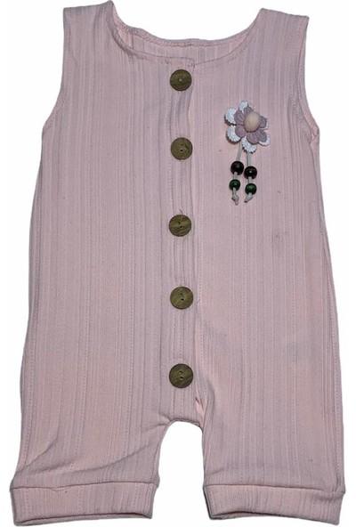 Mini Kids Çiçekli Düğmeli Kız Bebek Elbise