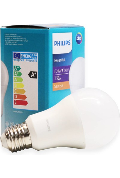 Philips Essential LED Lamba 13W - 100W E27 Duy 2700K Sarı Işık( 3 Lü Paket)