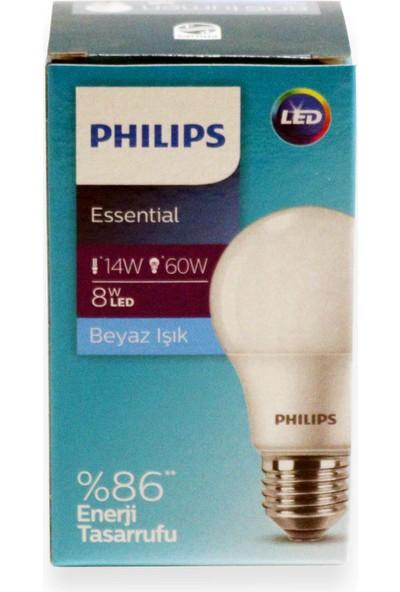 Philips Essential LED Ampul 8W - 60W E27 Beyaz Işık (6 Lı Paket )