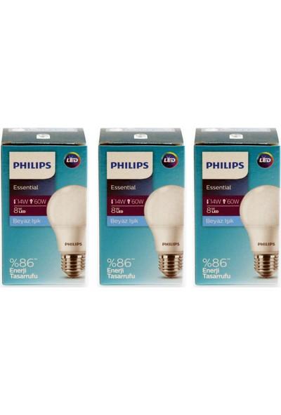 Philips Essential LED Ampul 8W - 60W E27 Beyaz Işık (3 Lü Paket )