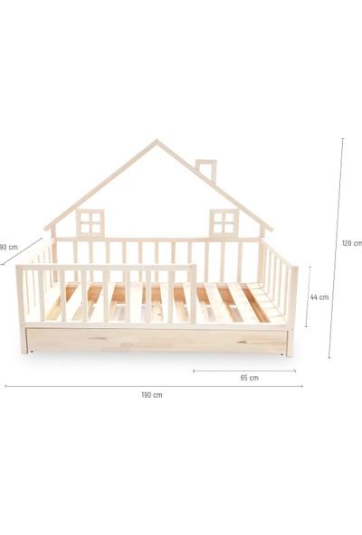 Ebatlandır DECO-6000 Montessori Yarım Çatılı Yavrulu Yatak