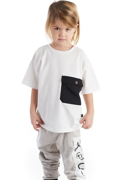 Colorinas Big Pocket Oversize Tshirt Beyaz