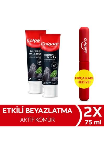 Colgate Natural Extracts Aktif Karbon ve Nane Diş Macunu 75 ml x 2 Adet + Fırça Kabı