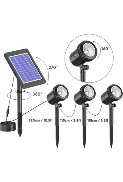 Gather Dase Güneş Enerjili Dış Mekan IP68 Suya Dayanıklı Rgb 3 Lambalı Güneş Peyzaj Spotları (Yurt Dışından)