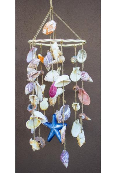 Antioch Artdesign Dev Boy Yuvarlak Kasnaklı Deniz Yıldızlı Deniz Kabuğu Duvar Balkon Bahçe Süsü Ev Dekor Hediyelik Eşya