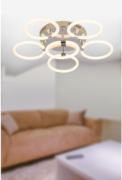 Luna Lighting Modern Krom LED Avize Bulut Model 6'lı Ledli Plafonyer Avize