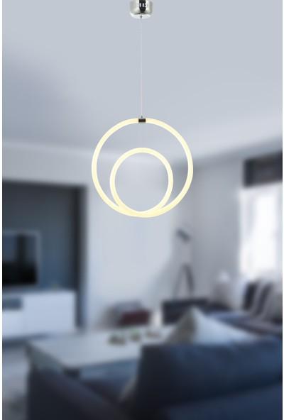 Luna Lighting Modern Krom LED Avize Elips Model Ledli Tekli Sarkıt Avize