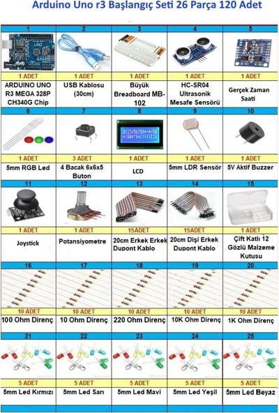 Maker Arduino Uno R3 Başlangıç Seti 26 Parça 120 Adet