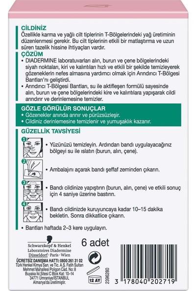 Diadermine Arındırıcı T Bölgesi Bantları 6 Adet (Normal, Karma Ve Yağlı Ciltler)