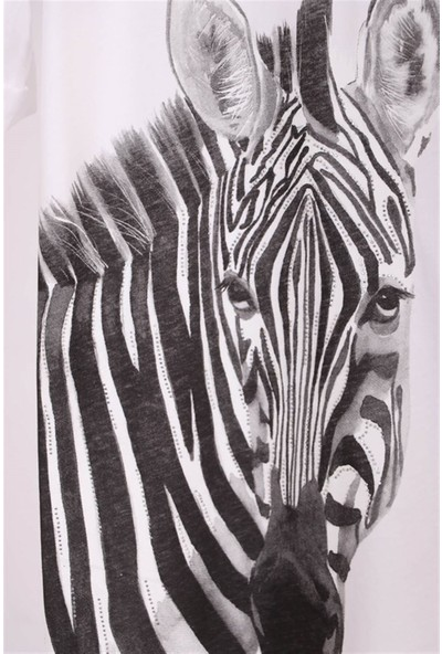 Aclassics Kadın Beyaz V Yaka Zebra Figürlü Swarovski Taşlı Pamuk Salaş Yırtmajlı Tunik T-Shirt