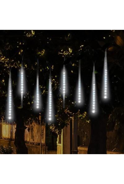 Sunlight Meteor Kayan LED Beyaz Işık 8 Tüp Yılbaşı Ağaç Aydınlatma