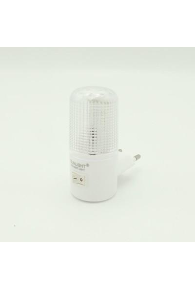 Sunlight Kısa LED Gece Lambası 0,5W Tasarruflu Işıklı Fişli Düğmeli 2'li