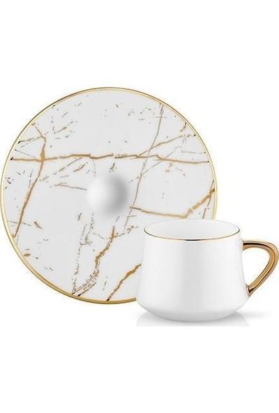 Koleksiyon Sufi Çay Fincan Seti 6lı Mermer Beyaz Prl Altın