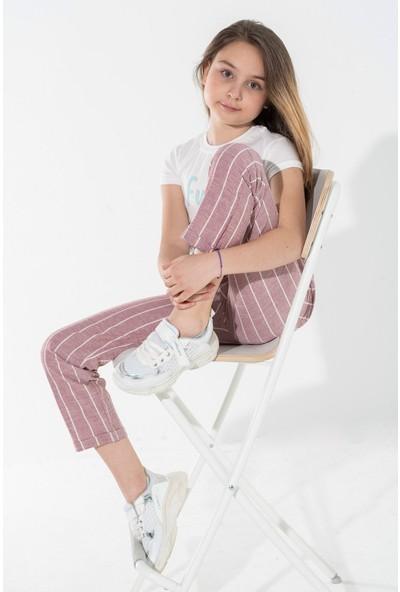 Zepkids Kız Çocuk Kalın Çizgili Pantolon 5-12 Yaş