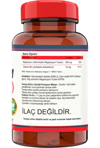 Magnesıum Cıtrate Vitamin B-6 120 Tablet