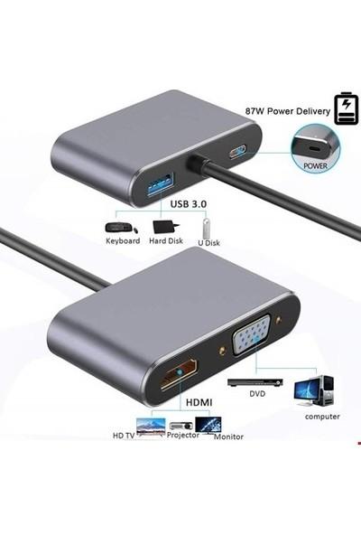 Daytona FC02 Macbook Uyumlu Type-C™ To 4K Ultra Hd 1080p Hdmı/ Vga/ Pd Şarj/ USB 3.0 4IN1 Çevirici Hub Adaptör