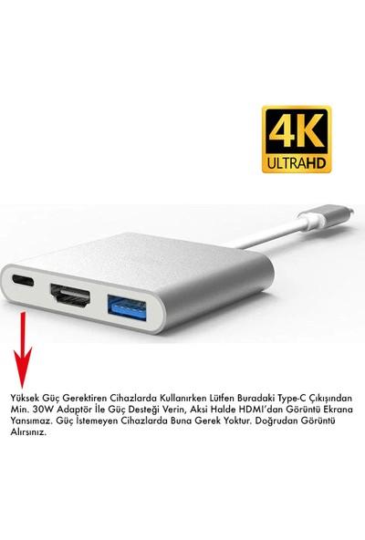 Daytona FC01 Macbook Uyumlu 4K Full HD 1080p Type C To 3 Portlu HDMI - USB 3.0 - PD Çevirici Hub Adaptör