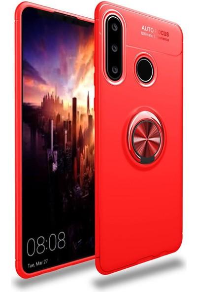 RedClick Huawei Y6P Kılıf Standlı Yüzüklü Silikon - Kırmızı