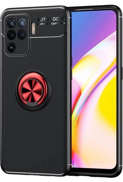 RedClick Oppo Reno 5 Lite Kılıf Standlı Yüzüklü Silikon + Ekran Koruyucu - Siyah-Kırmızı