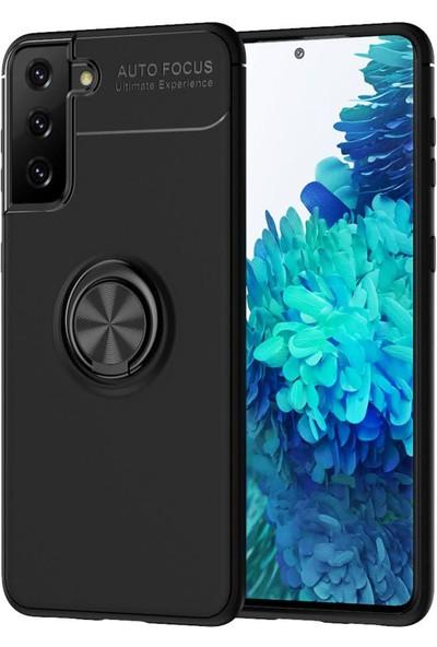 RedClick Samsung Galaxy S21 Kılıf Standlı Yüzüklü Silikon + Ekran Koruyucu - Siyah