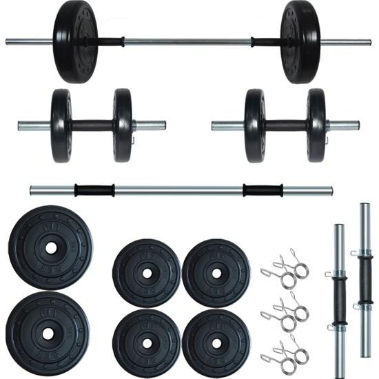 Fitset 25 kg Kombo Halter Seti ve Dambıl Seti Ağırlık Fitness Seti
