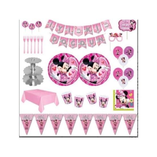 Minnie Partini Renklendir Minnie Mouse Lüks Doğum Günü Parti Malzemeleri Seti Süs 24 Kişilik Pembe